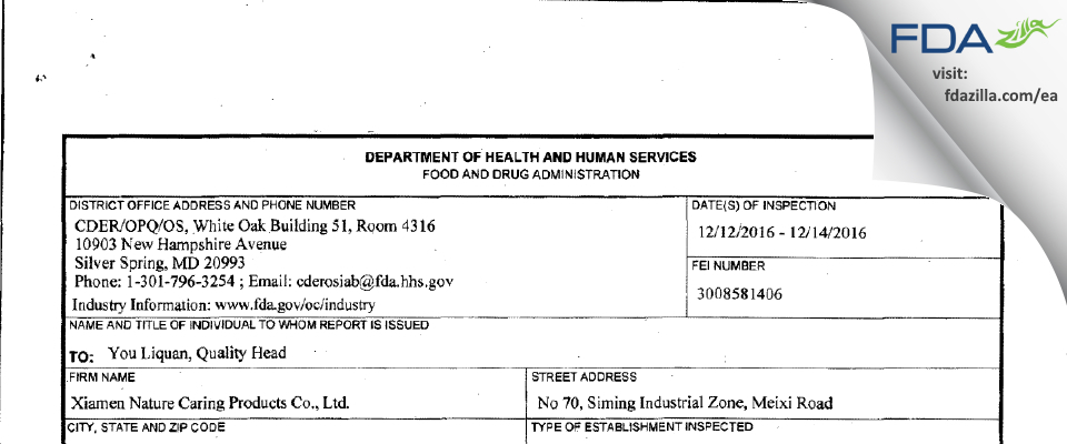 Xiamen Nature Caring Products FDA inspection 483 Dec 2016