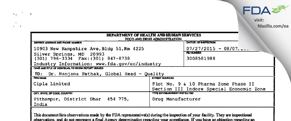 Cipla FDA inspection 483 Aug 2015