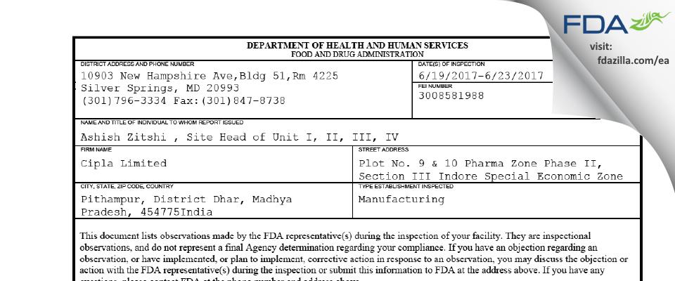 Cipla FDA inspection 483 Jun 2017