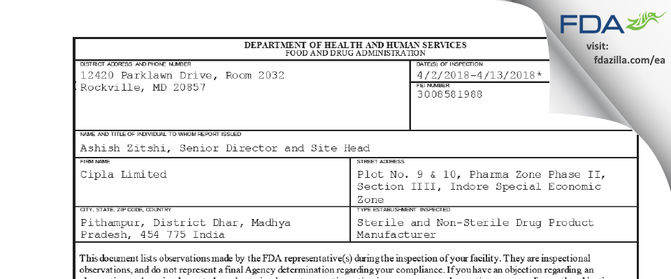 Cipla FDA inspection 483 Apr 2018