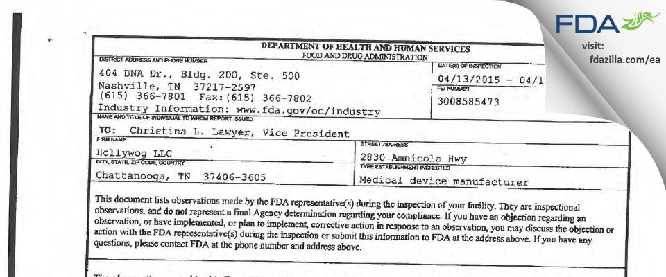 Hollywog FDA inspection 483 Apr 2015