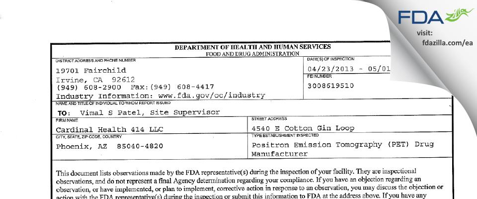Cardinal Health 414 FDA inspection 483 May 2013