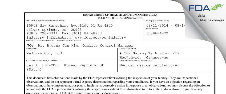 Medikan FDA inspection 483 Aug 2014