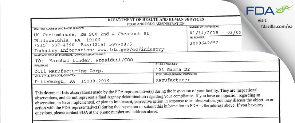 Zoll Manufacturing FDA inspection 483 Mar 2015