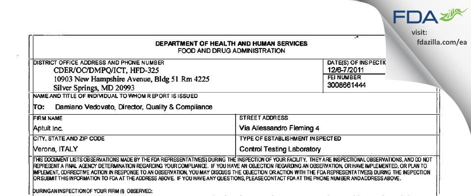 Aptuit (Verona) Srl FDA inspection 483 Dec 2011