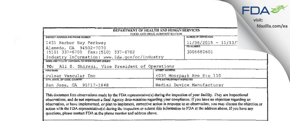 Pulsar Vascular FDA inspection 483 Nov 2015