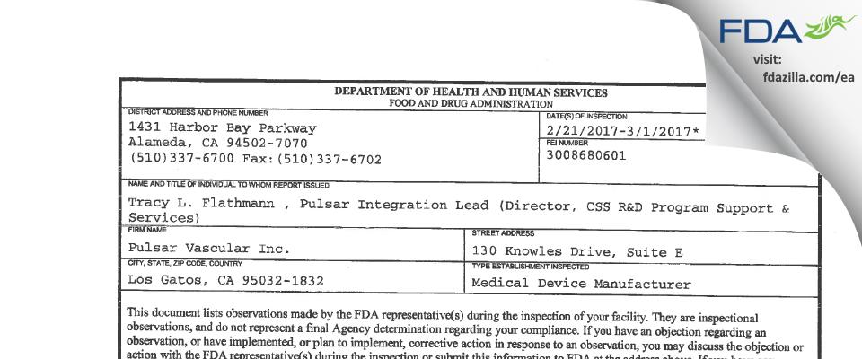 Pulsar Vascular FDA inspection 483 Mar 2017