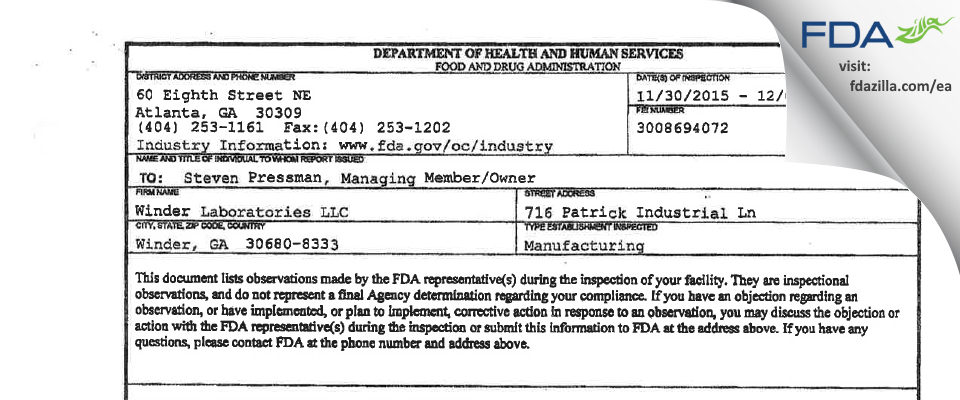 Winder Labs FDA inspection 483 Dec 2015