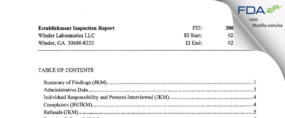 Winder Labs FDA inspection 483 Feb 2016