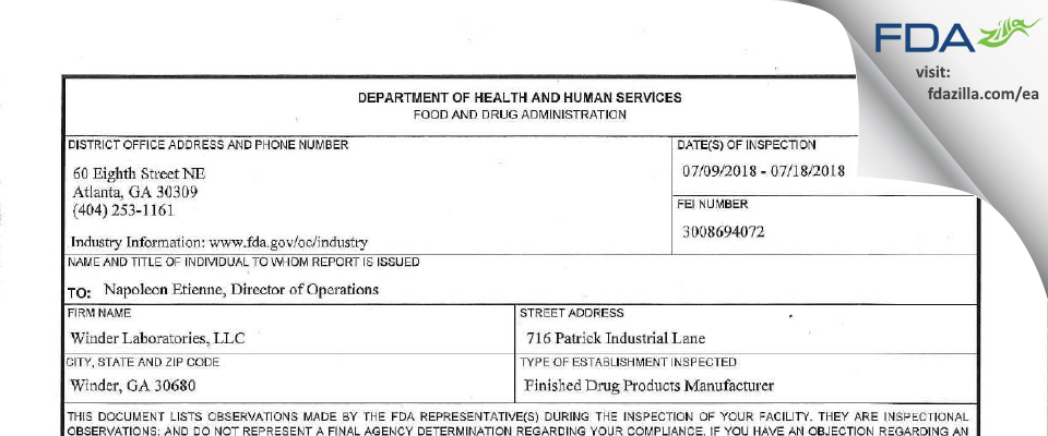 Winder Labs FDA inspection 483 Jul 2018