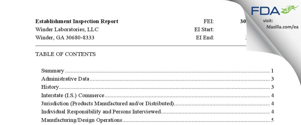 Winder Labs FDA inspection 483 Mar 2020