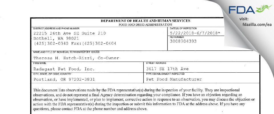 Radagast Pet Food FDA inspection 483 Jun 2018