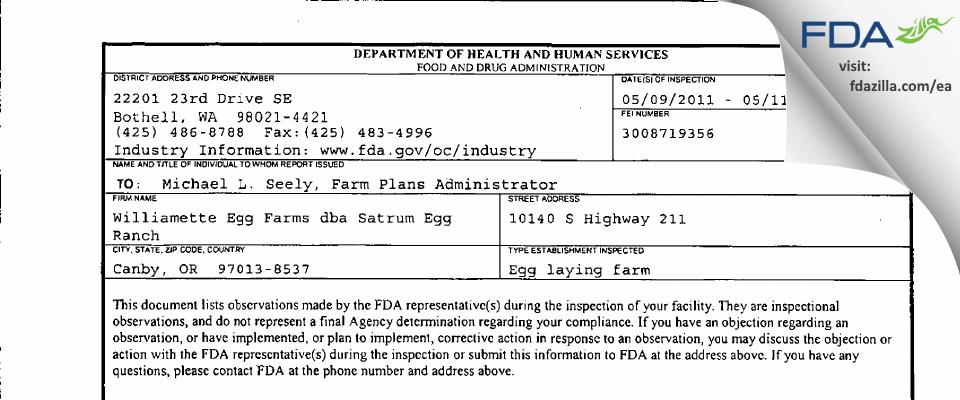 M.G. Waldbaum Company dba Williamette Egg Farm - Satrum FDA inspection 483 May 2011
