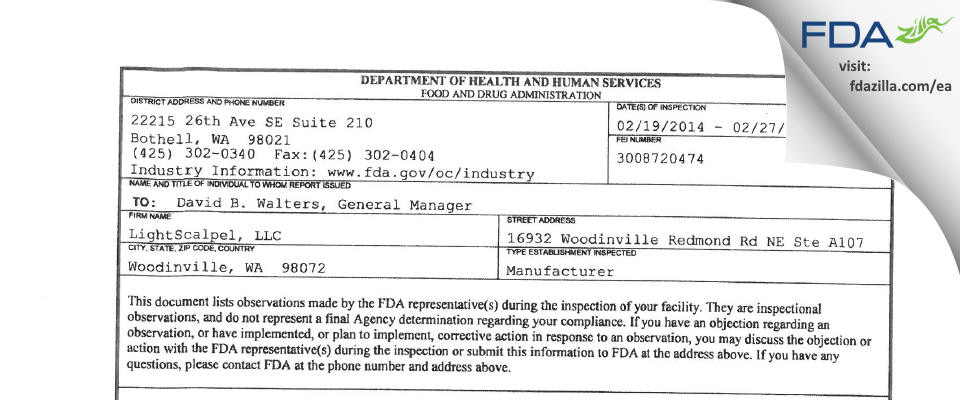 LightScalpel FDA inspection 483 Feb 2014