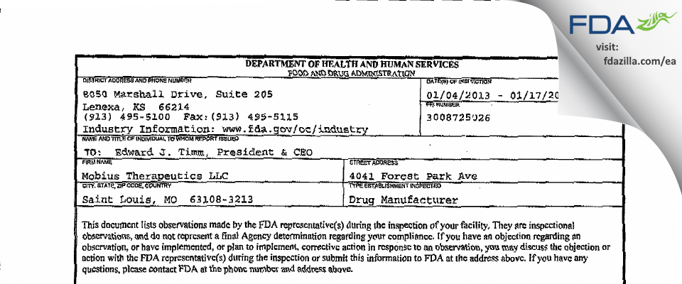 Mobius Therapeutics FDA inspection 483 Jan 2013