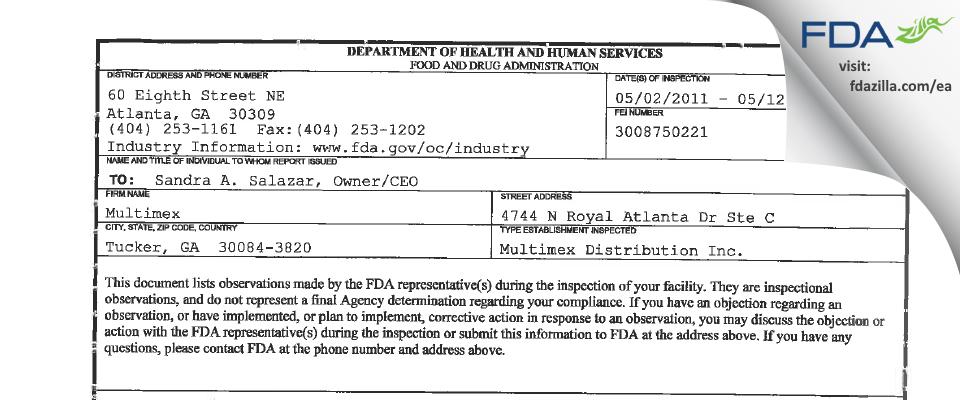 Multimex FDA inspection 483 May 2011