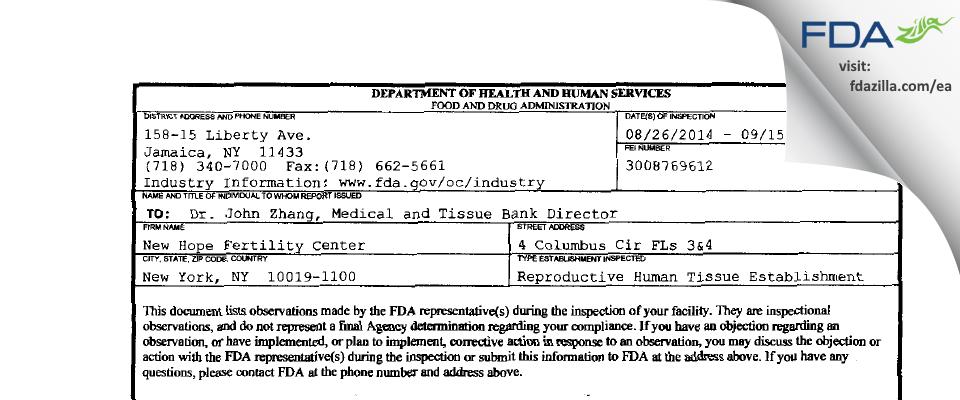 ZHANG MEDICAL P.C. d/b/a New Hope Fertility Center FDA inspection 483 Sep 2014