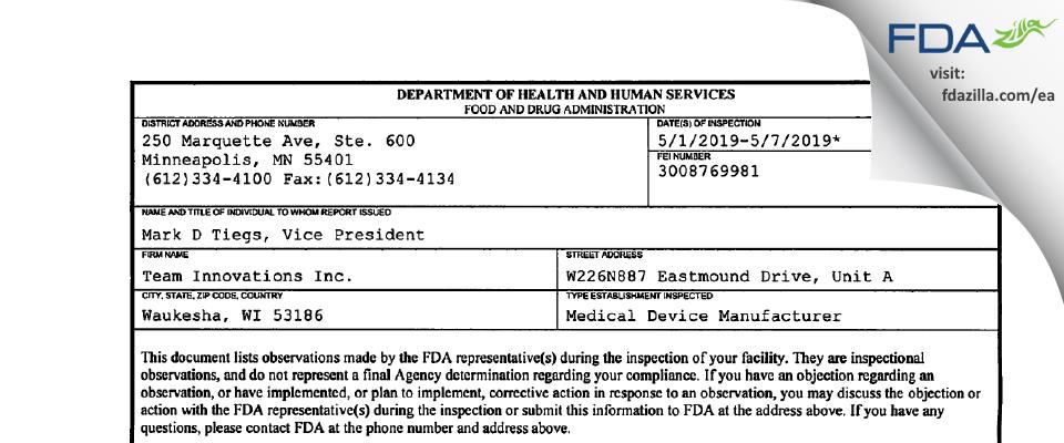 Team Innovations FDA inspection 483 May 2019
