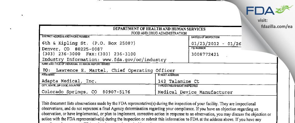 Adapta Medical FDA inspection 483 Jan 2012