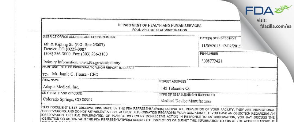 Adapta Medical FDA inspection 483 Dec 2015