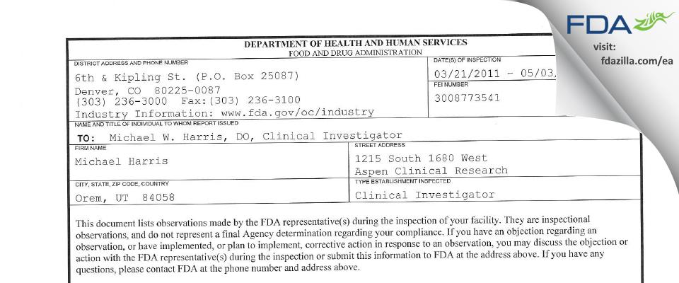 Michael W. Harris, D.O. FDA inspection 483 May 2011