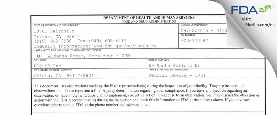 BIO SB FDA inspection 483 Apr 2015