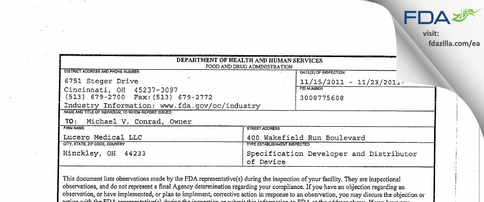 Lucero Medical FDA inspection 483 Nov 2011