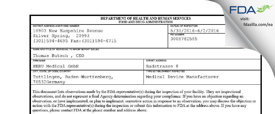 Hebumedical GMBH FDA inspection 483 Jun 2016