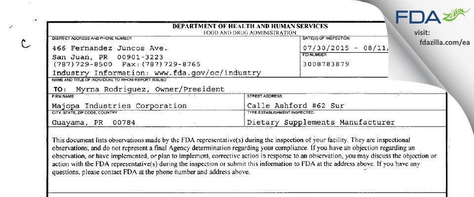 Majopa Industries FDA inspection 483 Aug 2015
