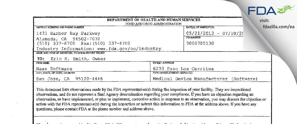 Haas Software FDA inspection 483 Jul 2013