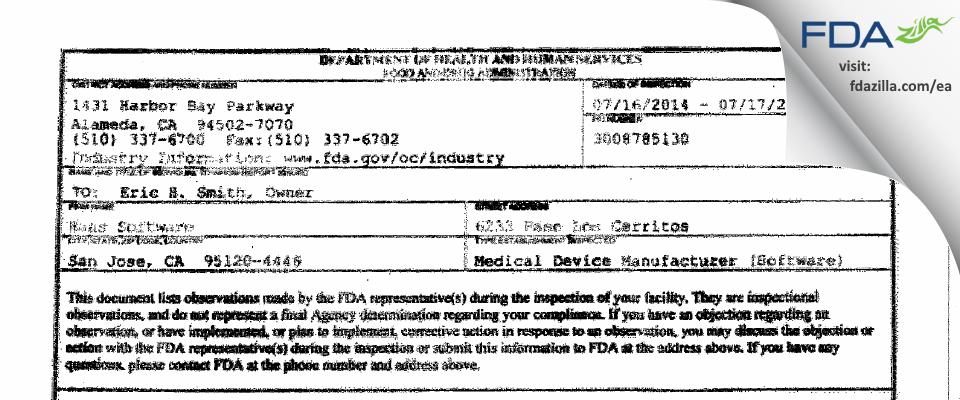 Haas Software FDA inspection 483 Jul 2014