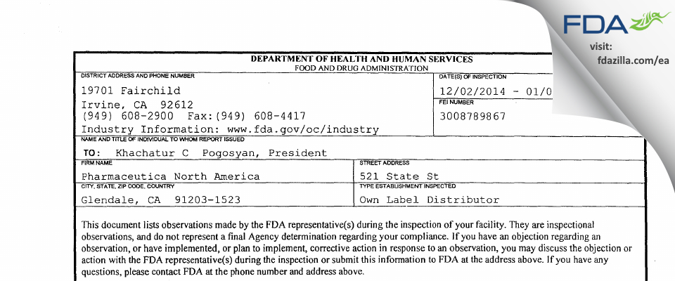 Pharmaceutica North America FDA inspection 483 Jan 2015