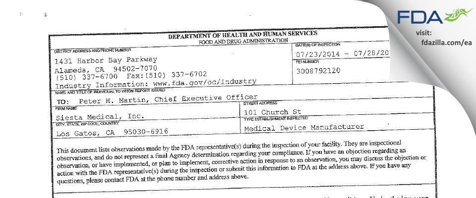 Siesta Medical FDA inspection 483 Jul 2014