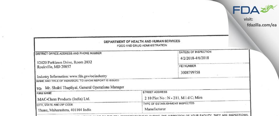 MAC-Chem Products (India) FDA inspection 483 Apr 2018