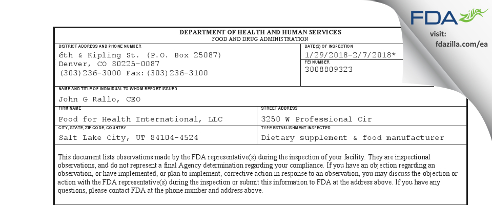 Food for Health International FDA inspection 483 Feb 2018