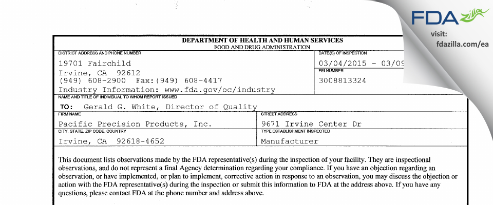 Pacific Precision Products FDA inspection 483 Mar 2015