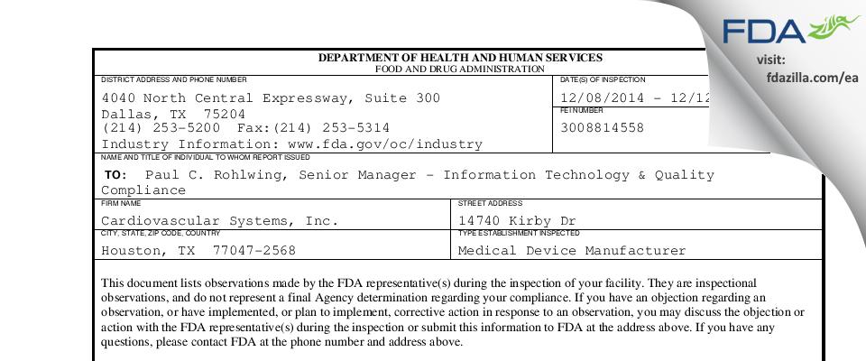 Cardiovascular Systems FDA inspection 483 Dec 2014