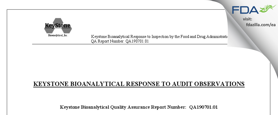 Keystone Bioanalytical FDA inspection 483 Jun 2019