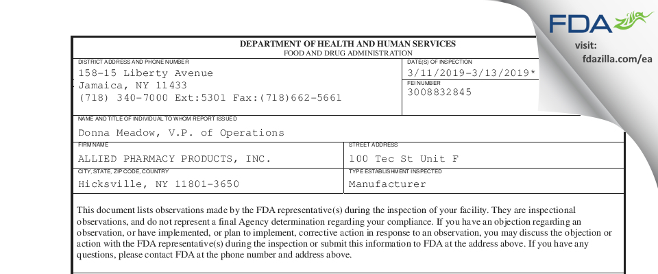 ALLIED PHARMACY PRODUCTS,. FDA inspection 483 Mar 2019