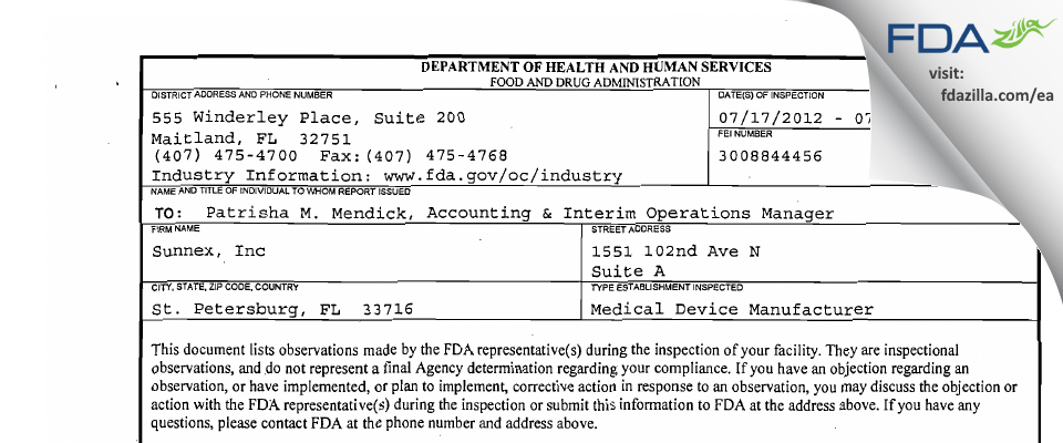 Sunnex FDA inspection 483 Jul 2012