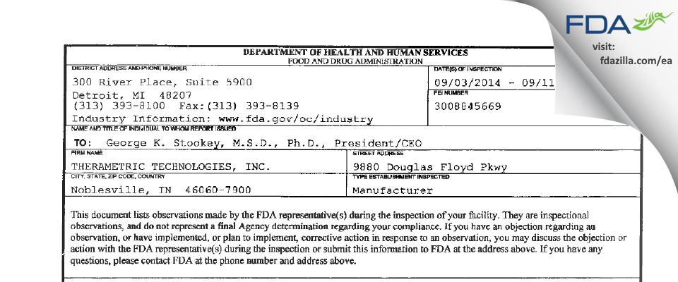 Therametric Technologies FDA inspection 483 Sep 2014