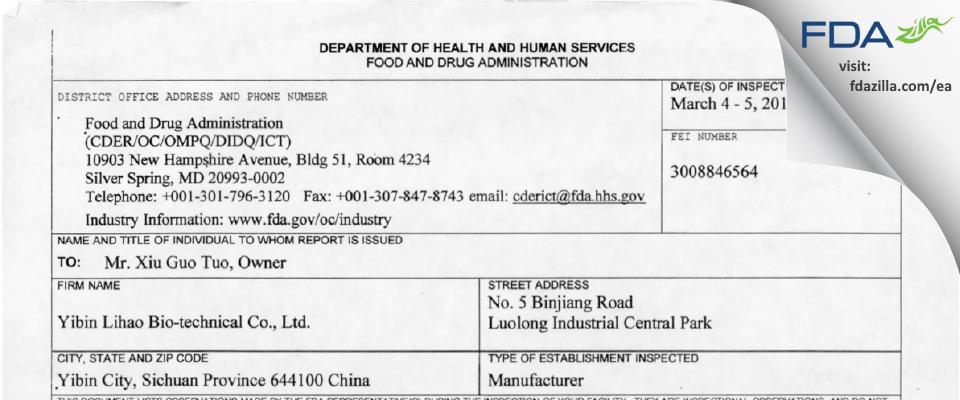 Yibin Lihao Bio-technical FDA inspection 483 Mar 2014