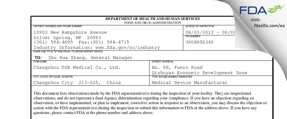 Changzhou DSB Medical FDA inspection 483 Jun 2013