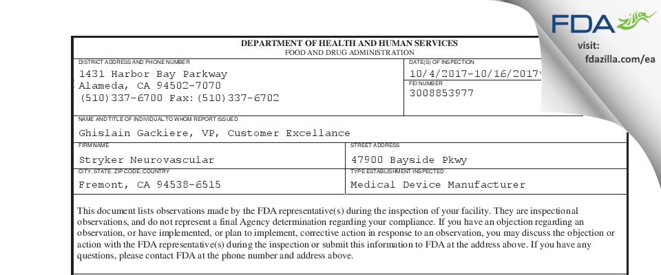 Stryker FDA inspection 483 Oct 2017