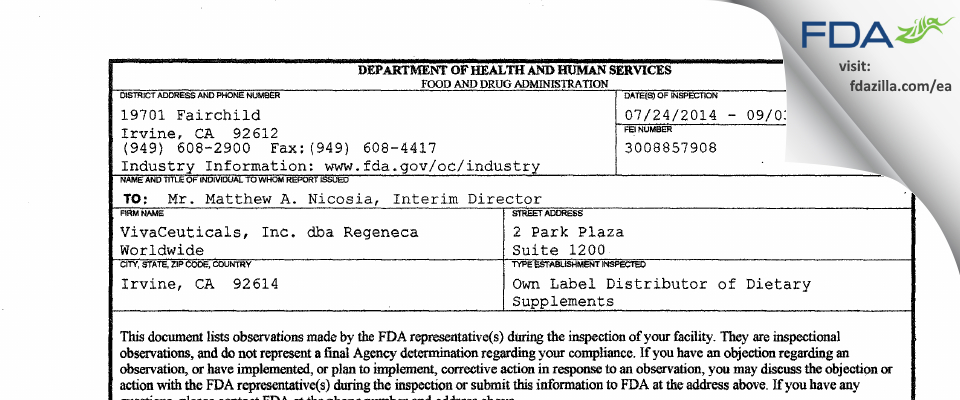 VivaCeuticals dba Regeneca Worldwide FDA inspection 483 Sep 2014