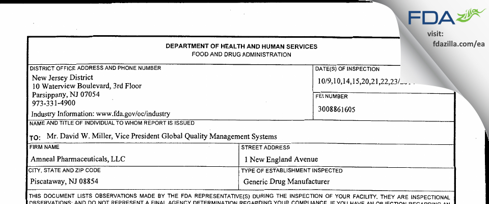 Amneal Pharmaceuticals FDA inspection 483 Oct 2014