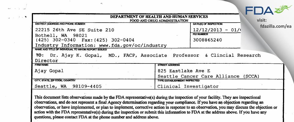 Ajay Gopal FDA inspection 483 Jan 2014