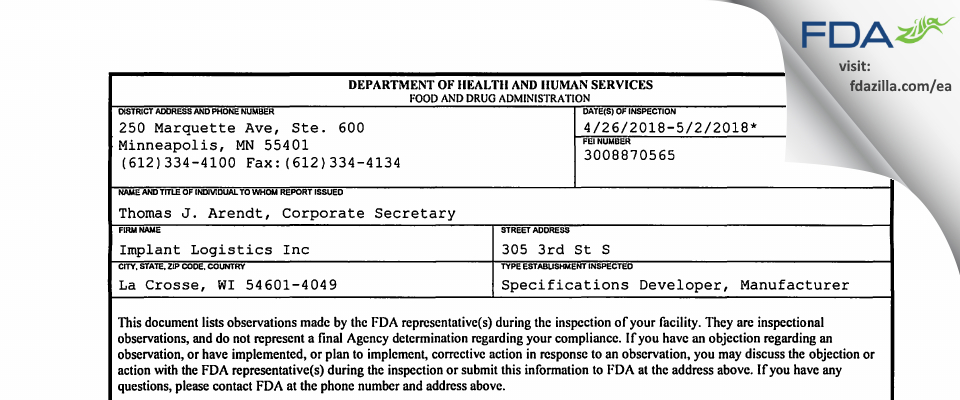 Implant Logistics FDA inspection 483 May 2018