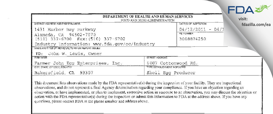 Farmer John Egg Enterprises FDA inspection 483 Apr 2011