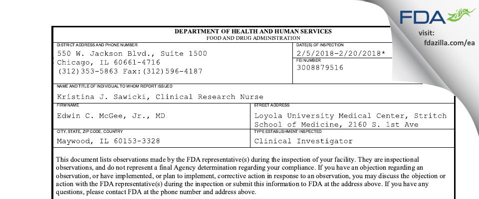 Edwin C. McGee, Jr., MD FDA inspection 483 Feb 2018